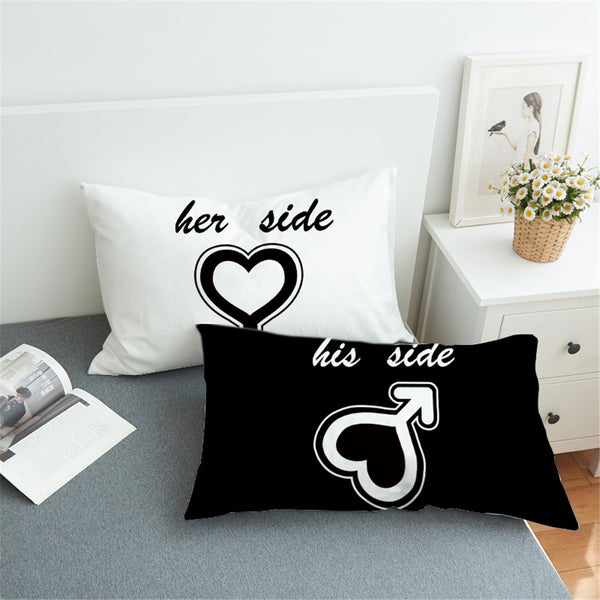 Black and White Heart His and Her Side Couple Pillow Case