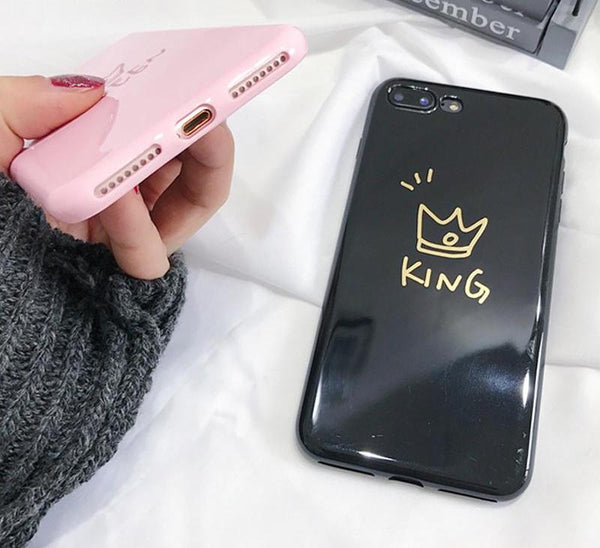 Glossy King and Queen Crown Couple Phone Case