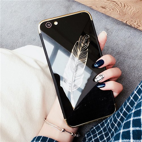 Black Pink Feather Couple Phone Case