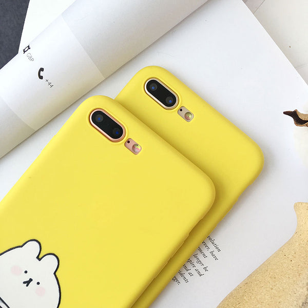 Yellow Cat Soft Silicone Couples Phone Case