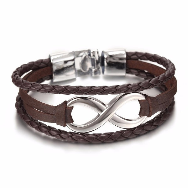 Black Leather Infinity Couple Charm Bracelet