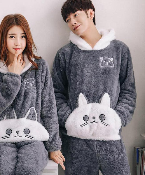 Cute Cat Pocket Couple Pajamas