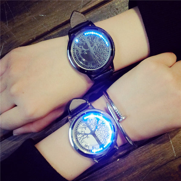 LED Tree design Couple Watch