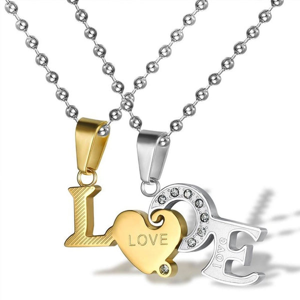 Gold and Silver LOVE Couple Necklace Set