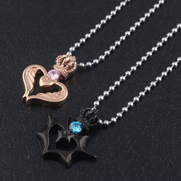 Queen Crown Rose Gold and King Crown Black Couple Necklace