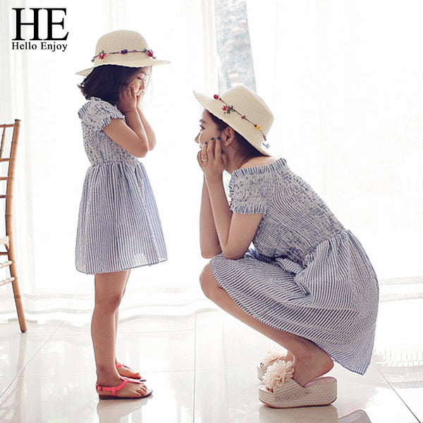 HE Hello Enjoy mother daughter dresses 2016 Family Matching Outfits striped dress family clothing mother and daughter clothes - CoupleStuffs.com - Couple's Super Shop for Stuffs!