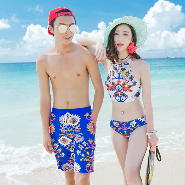 Blue Aztec Couples Swimwear
