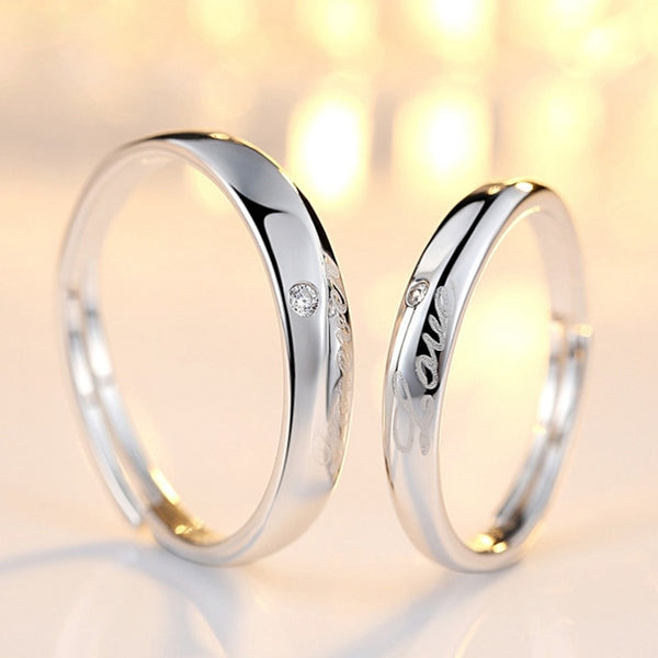 Forever Love Sterling Silver Couple Rings
