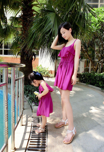 2016 Brand New Summer Matching Family Chiffon Dress Mom And Daughter  Beach Frill Bodycon Family Matching Outfits Dress Hot Sale - CoupleStuffs.com - Couple's Super Shop for Stuffs!
