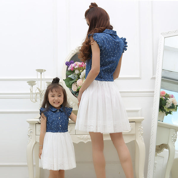 Mom and Daughter Dress Matching Clothes 2016 Blue White Dress for Kids and Women Summer Family Outfits Mother Daughter Dresses - CoupleStuffs.com - Couple's Super Shop for Stuffs!