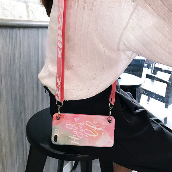 Pink Candy Phone Case For iPhone X 6 7 8 Plus with Shoulder belt