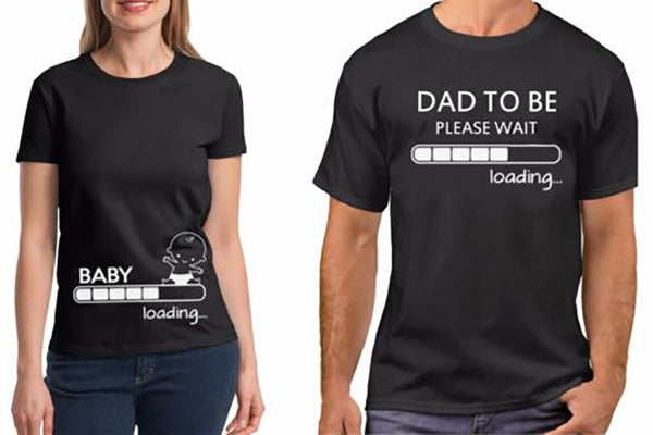Dad to be please wait and Baby Couple T Shirt
