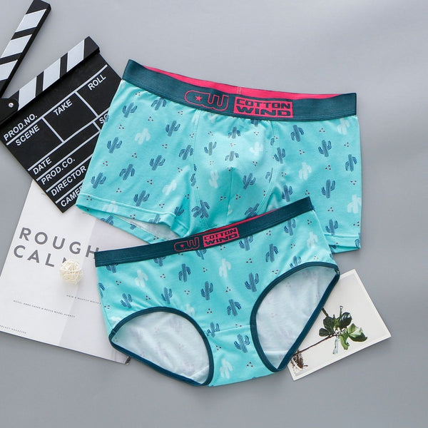 Aqua Color Cactus Couple Underwear