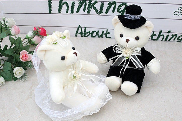 09a1c6ee4c Couple Stuff Toys a pair of cute wedding dress couples happy bear doll car  doll bed