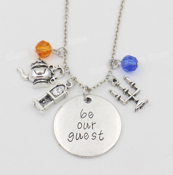 "Beauty and the Beast Necklace with ""be our guest"" Handwriting Letter"