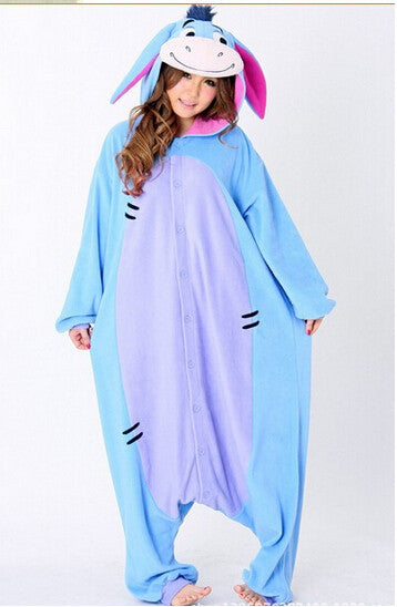 New Year 2016 Men Women Winter Fleece Kawaii Cute Adult Animal Couples Onesie Pajamas Costume Donkey Eeyore Onesie - CoupleStuffs.com - Couple's Super Shop for Stuffs!