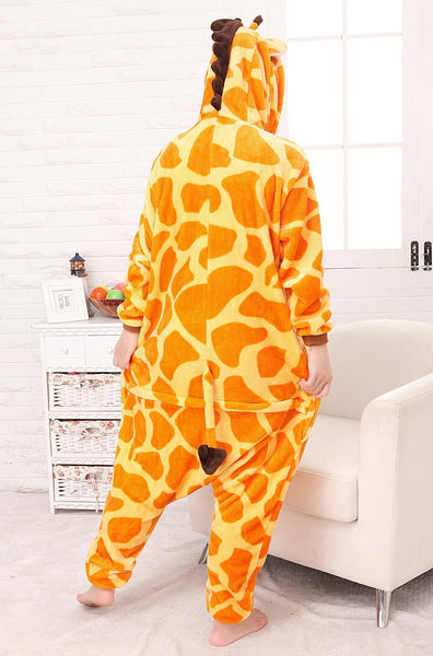 free shipping 2016 New Winter Lovers Flannel Sleepwear Couple Pajamas Adult Cartoon Animal Giraffe Lover Onesie Cosplay - CoupleStuffs.com - Couple's Super Shop for Stuffs!