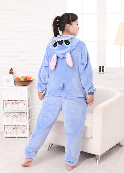 free shipping Couple Lovers Anime Animal Blue Pink Stitch Pajamas Adult Unisex Women Men Onesie Cosplay Sleepwear - CoupleStuffs.com - Couple's Super Shop for Stuffs!