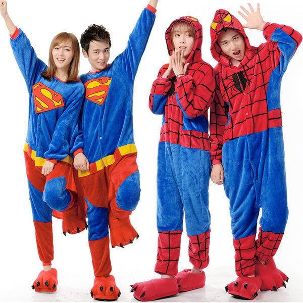 fashion couple cartoon animal pajamas Superman Spiderman Costume adult Pyjamas casual fleece nightwear ladies jumpsuit one piece - CoupleStuffs.com - Couple's Super Shop for Stuffs!