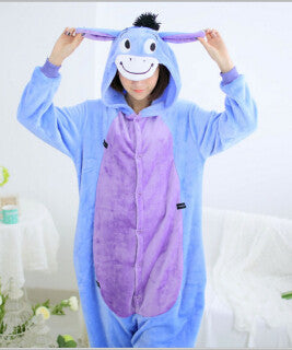New Year 2015 Men Women Winter Spring Fleece Kawaii Cute Adult Animal Couples Onesie Pajamas Costume Donkey Eeyore Onesie - CoupleStuffs.com - Couple's Super Shop for Stuffs!