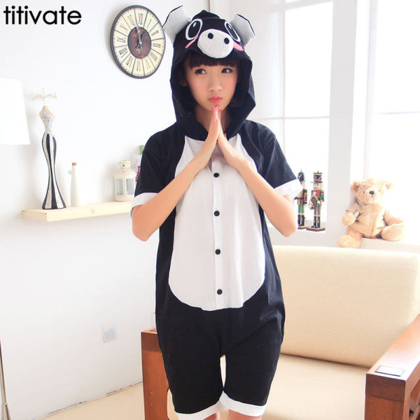 Adult Unisex Summer Nightwear Hoodie Pajamas Black pig Onesies Cosplay Costume Sleepwear Adult Animal Cotton Cute Couple Pyjama - CoupleStuffs.com - Couple's Super Shop for Stuffs!