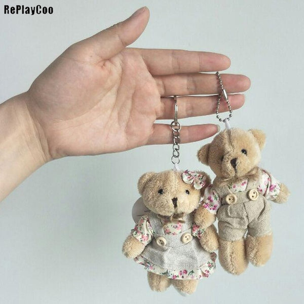 2pcs Kawaii Teddy Bear Couple Plush Toy Keychain