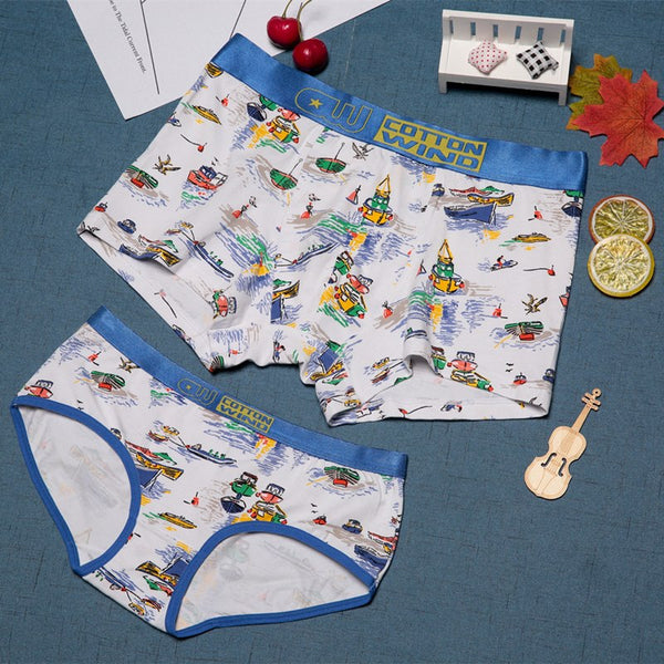 Boat Print Hand Painted Couple Underwear