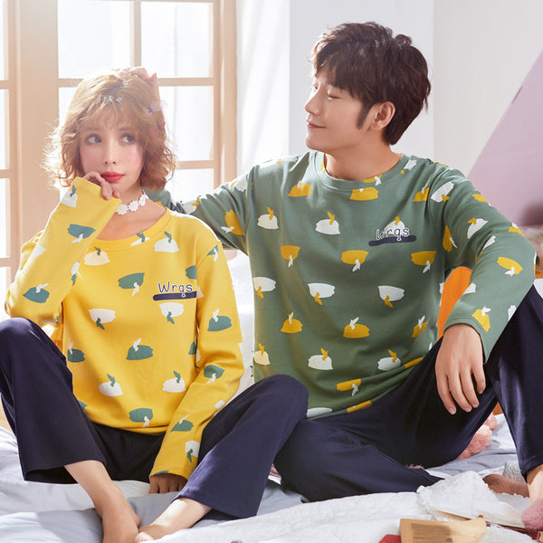 Yellow Green Couple Pajamas