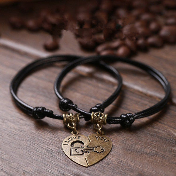 Vintage Heart I Love You Lock Key Couple Bracelets