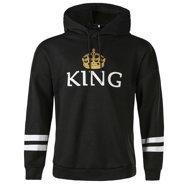 QUEEN KING Striped Hooded Couple Sweater