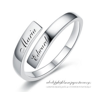 925 Sterling Silver Engrave Name Couple Ring