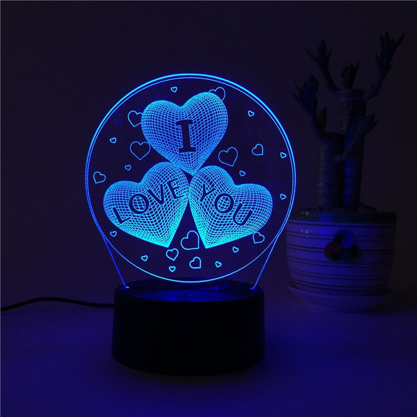 I LOVE YOU 7 Color 3D Lamp