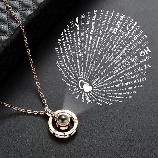 I Love You in 100 Languages Projection Couple Necklace