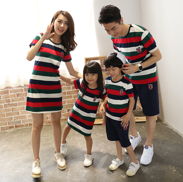 Red Black Green White Stripes Family Matching Clothes