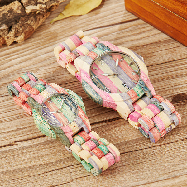 Rainbow Wood Couple Watches