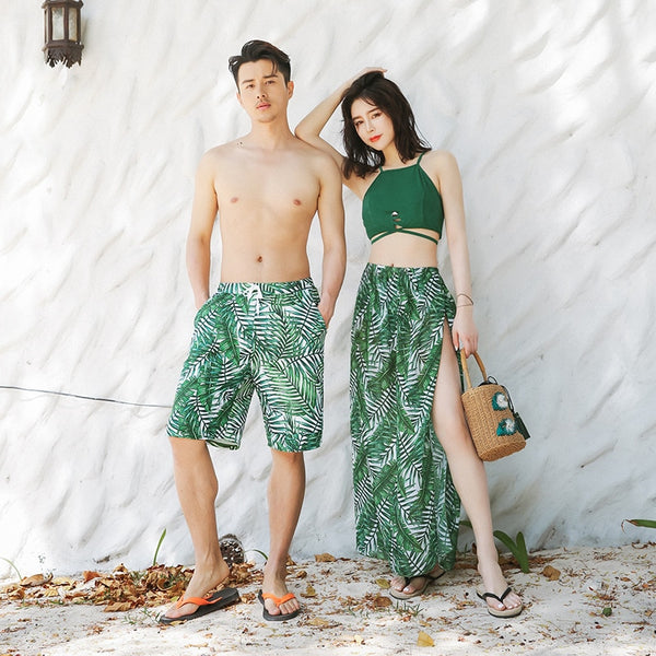 Summer Green Palm Tree Couple Swimwear