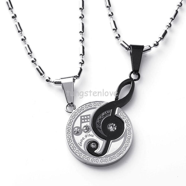 "Couple Necklace pendants Musical Matching Music Note ""I Love You"" Set"