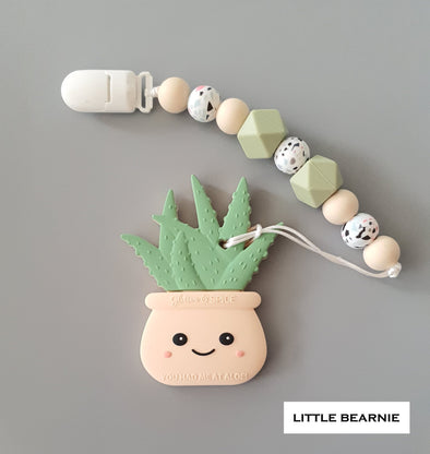 Modern Baby Teether Clip Set - Hello Aloe! (Cream)