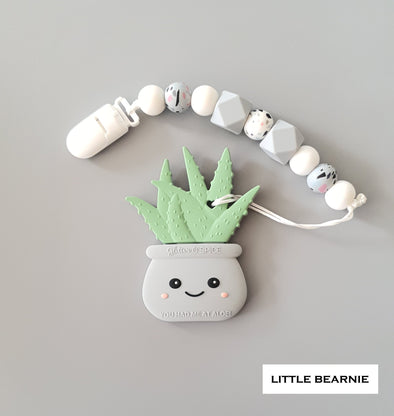 Modern Baby Teether Clip Set - Hello Aloe! (Grey)