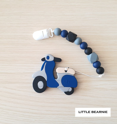 Modern Baby Teether Clip Set - Scooter (Blue)