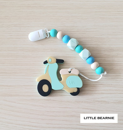 Modern Baby Teether Clip Set - Scooter (Mint)