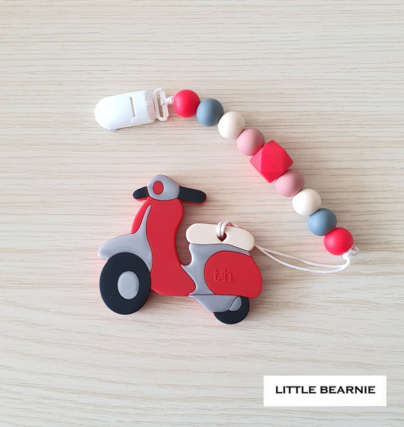 Modern Baby Teether Clip Set - Scooter (Red)