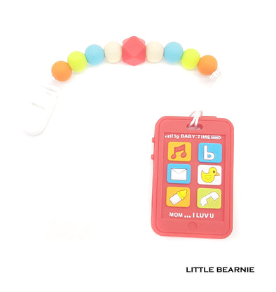 Modern Baby Teether Clip Set - Baby Phone (Red)