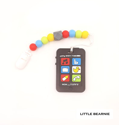 Modern Baby Teether Clip Set - Baby Phone (Black)