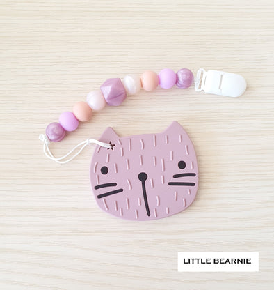 Modern Baby Teether Clip Set - Cat (Plum)
