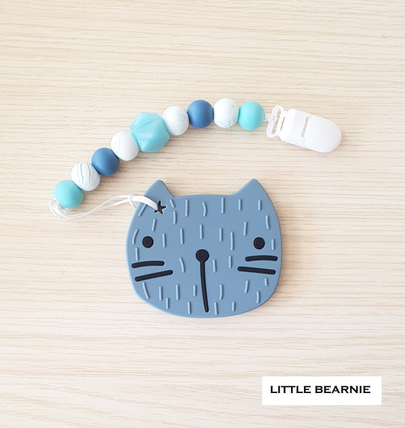 Modern Baby Teether Clip Set - Cat (Serenity Blue)