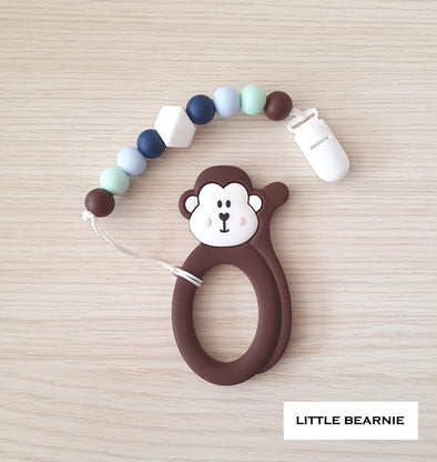 Baby Teether Clip Set (Premium Range) - Cheeky Monkey (Brown)