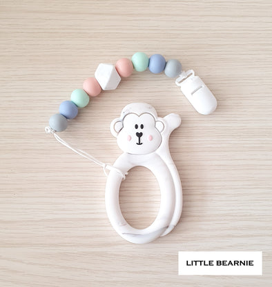 Baby Teether Clip Set (Premium Range) - Cheeky Monkey (Marble)