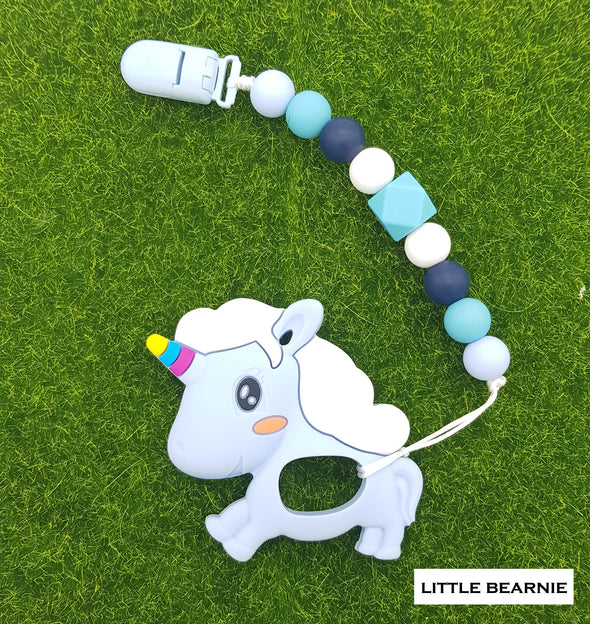Baby Teether Clip Set (Premium Range) - Cutesy Unicorn (Blue)