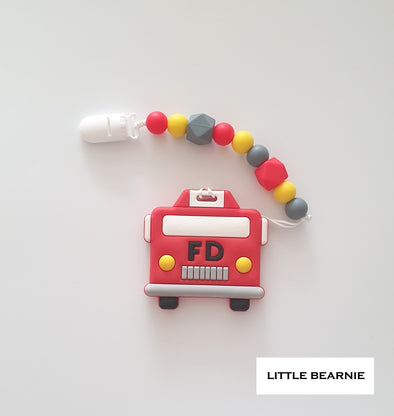 Modern Baby Teether Clip Set - Fire Truck